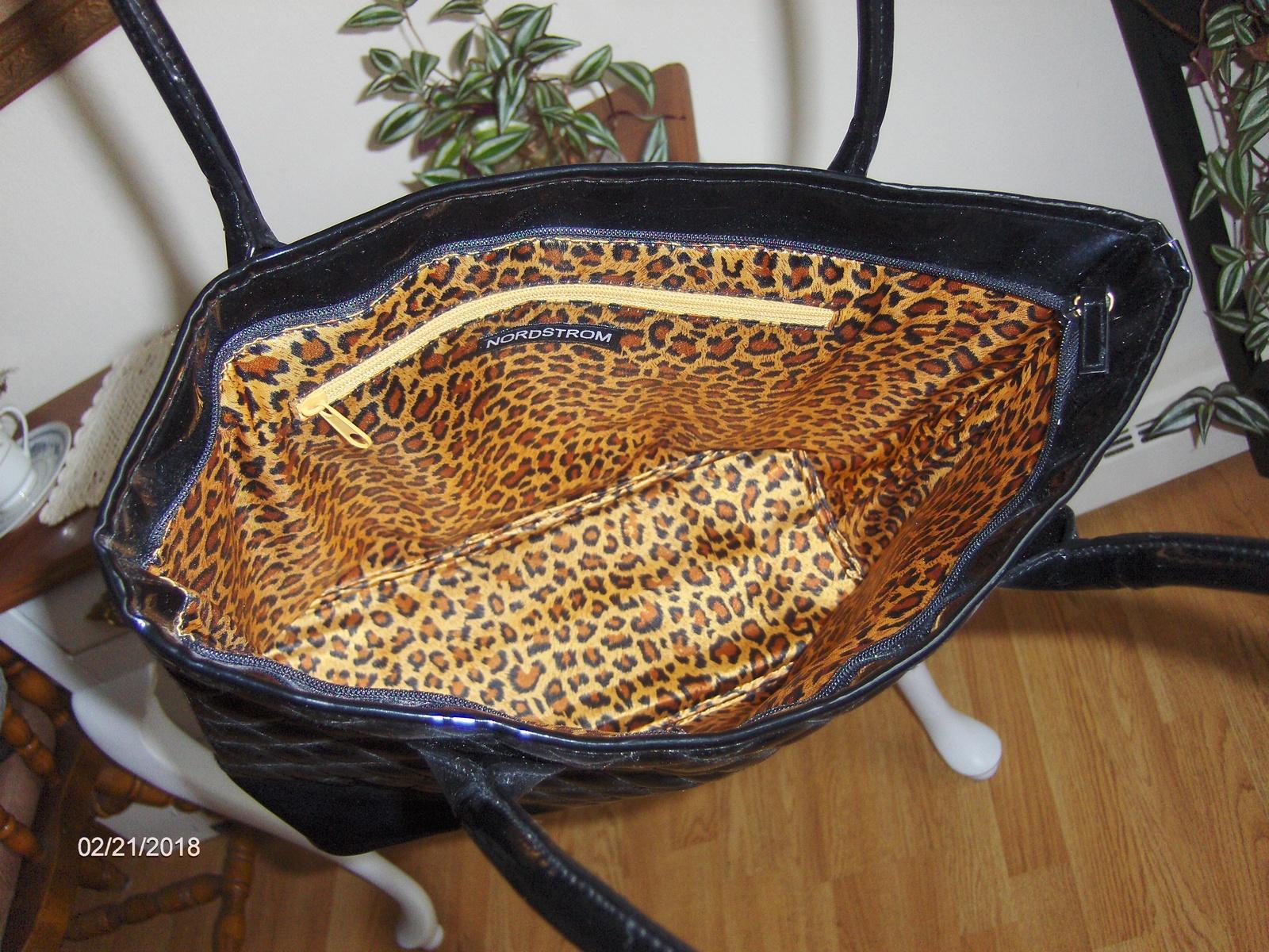 Nordstrom Black Tote Bag Quilted Shopper Handbag Satchel Purse Large