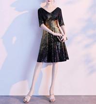 Knee Length Black Gold Sequin Dress Sleeved V Neck Sequin Dress Wedding Dress image 3
