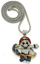 Necklace New Iced Out Crystal Rhinestones Pendant 36 Inch Franco Chain Pirate - $34.49+