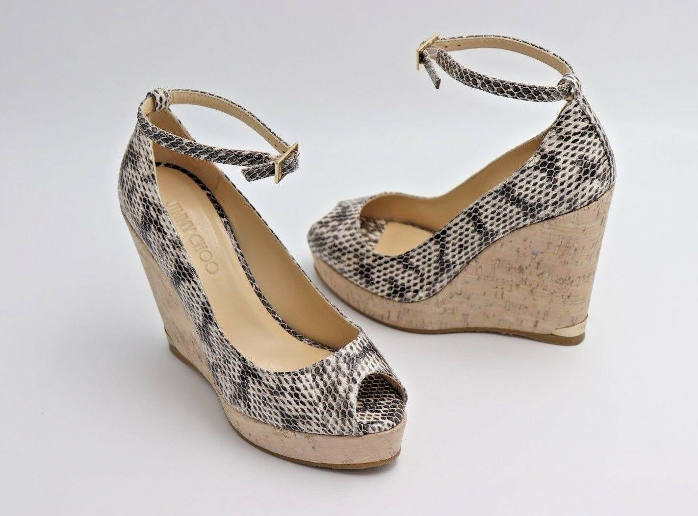 Primary image for Jimmy Choo Pacific Snake 120mm Peep-Toe Cork Wedge Pump Sandals 38.5 8.5 ($625)