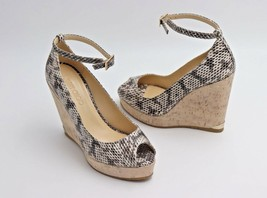 Jimmy Choo Pacific Snake 120mm Peep-Toe Cork Wedge Pump Sandals 38.5 8.5... - $325.00
