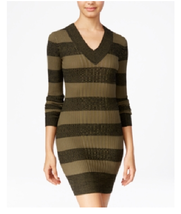 Planet Gold Juniors Black Green Striped Rib Knit Sweater Dress Size Smal... - $14.84