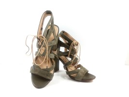 Sam Edelman Women Heels Block Sandal Gladiator Suede Green Yardley Shoes 38 US 8 - $49.32