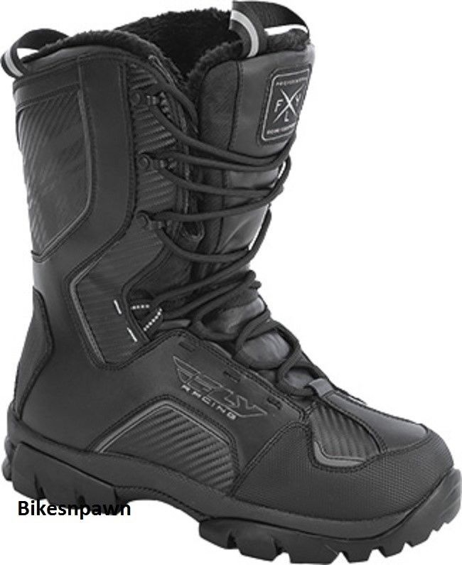 New Mens FLY Racing Marker Black Size 12 Snowmobile Winter Snow Boots -40 F