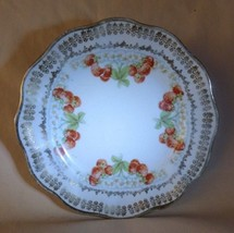 """Antique Pre-1891 Small Transfer 6"""" Plate Strawberry Blooms Fruit Gilt Sc... - $10.00"""