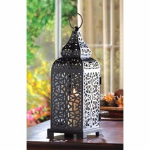 Exotic Matte Black Moroccan Syle Tower Candle Lantern - $12.56