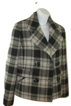 Anne Klein Pea Coat Wool Gray Plaid Double Breasted Lined Womens Size 4 - $28.70