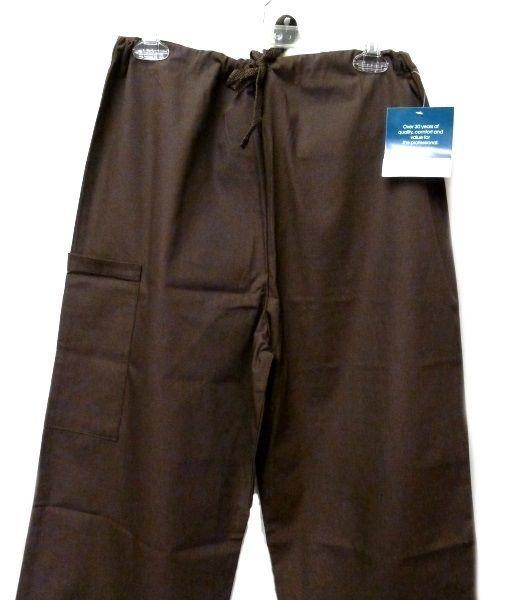 Brown Scrub Set XL V Neck Top Drawstring Pants Women's Medical Uniforms #616/701 image 8