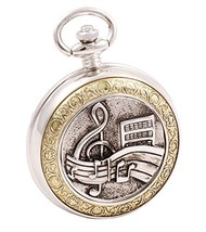 Shoppewatch Pocket Watch Music Symbols Roman Numeral with Chain for Musi... - $36.60