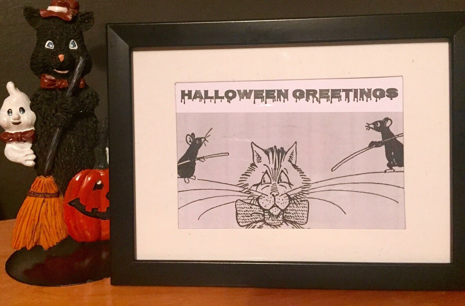Primary image for HALLOWEEN GREETINGS VINTAGE CARTOON FRAMED Desktop Art Print for Office Space