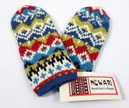 Newari Icelandic Design Hand Knit Wool Mittens Blue Multi-Color Adult Ne... - $561,31 MXN