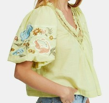 FREE PEOPLE Embroidered Green Peasant XS TOP BLOUSE Retails $148. NWT! - $79.99