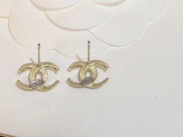 SALE!!! Authentic CHANEL CRESCENT MOON CRYSTAL CC Logo Stud Earrings Gold  image 7