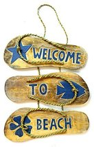 "Hand Carved FLIP FLOP HIBISCUS ""WELCOME TO THE BEACH"" SIGN towels beach ... - $14.79"