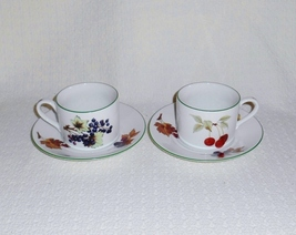 Royal Worcester Evesham Vale Cups and Saucers (2) English Porcelain - $24.00