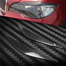 Carbon Fiber Car Headlight Cover Eyebrows Eyelid Trim  For BMW X6 E71 - $48.50
