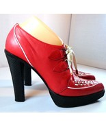 Casadei Womens Platform Red Leather Booties High Heels Size 39 B - $299.95