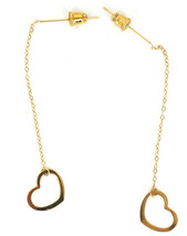 Vintage 14k yellow Gold Delicate Minimalist Heart Chain Dangle Drop Earr... - $98.99