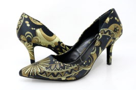 Charles By Charles David Womens 7M Gold Black Floral High Stiletto Heels - $39.99