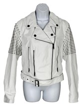 Burberry Brit Valletortem Women'S White Leather Studded Motorcycle Jacke... - $505.99
