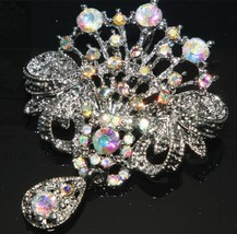 Wedding Dress Clear Rainbow Rhinestone Crystal Dangle Brooch Pin - $9.99