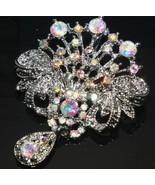 Wedding Dress Clear Rainbow Rhinestone Crystal Dangle Brooch Pin - $9.99
