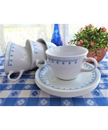 Snowflake Garland Cups and Saucers 4 Corelle 1970s Blue And White Mid Ce... - $28.00
