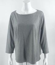 Talbots Top Plus Size 2X  Gray Black Polka Dot Boat Neck 3/4 Sleeve Shir... - $39.60