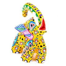 "Handmade Alebrijes Oaxacan Painted Carved Wood Folk Art Elephant 6"" Figure image 4"