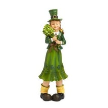 St Patricks Day Leprechaun Shamrock Girl Statue Figurine Green Luck Iris... - $27.95