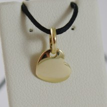 18K YELLOW GOLD MINI HEART CHARM PENDANT, 9 MM, FLAT SMOOTH SHINY MADE IN ITALY image 1
