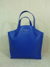 NWT FURLA Ocean Blue Saffiano Leather Small Jucca Stitch Tote Bag - $245.52