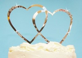 French Flower Double Heart Crystal Accented Cake Topper - $44.96