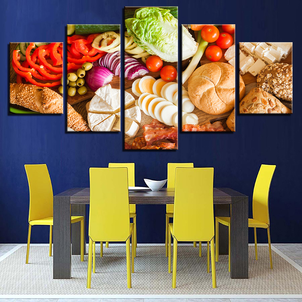 Kitchen Fruit Foods and Bread 5 Piece Canvas and 50 similar items