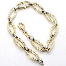 BRACELET YELLOW GOLD WHITE 18K 750, DOUBLE OVALS ALTERNATING, MADE IN ITALY - $447.91