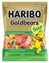 Haribo Gummi Candy, Goldbears Gummi Candy, Sour, 4.5 oz. Bag (Pack of 12) - $25.27