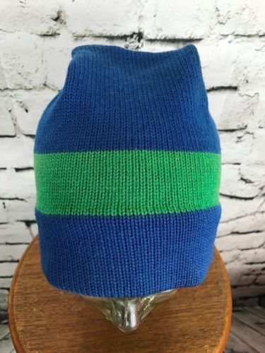 Primary image for Unisex One Sz Hat Blue Green Striped Baggy Beanie Warm Winter Cap