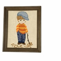 Valentine Crewel Embroidery Complete I Love You Boy Needlework Framed 10... - £18.02 GBP