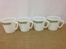 Pyrex No 1410 Crazy Daisy Green Microwave Vtg 70s D Handle USA Made Coffee Cups - $15.99