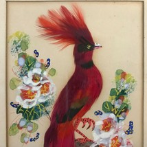 EXOTIC RED BIRD Real Feather Art Painting, SIGNED Vntg 3D Mixed Media Fo... - $43.70