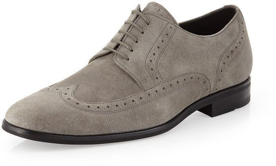 Handmade Men's Suede Wing Tip Oxford Shoes