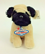 "Las Vegas Pug Dog Unipak Off White Black Plush Stuffed Animal 7"" NEW - $12.59"