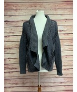 ALLSAINTS All Saints Dagan Open Front Crochet Gray Cardigan, Lambs Wool, 4 - $45.00
