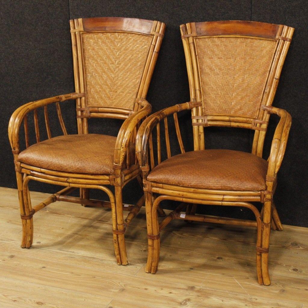 Coppia di poltrone design mobili in legno bambù salotto sedie ...