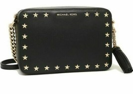 Authentic Michael Kors Black Ginny Star Studded Camera Crossbody Messeng... - $124.74