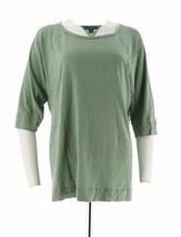 Isaac Mizrahi True Denim Raglan Knit Tunic Sage Green, Medium, Qvc, New - $19.01
