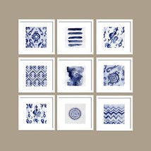 Set of 9 Prints. Watercolor in Morocco Style Navy and Indigo Colors - $19.06