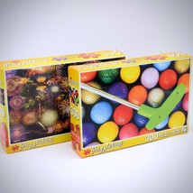 Lot of 2 Puzzlebug 300 Piece Puzzle Colorful Golf Balls Putt Fireworks S... - $24.74