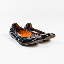 Lanvin Black Patent Leather Ruched Ballet Flats SZ 36 - $105.00