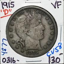 1915D Silver Barber Half Dollar 50¢ Coin Lot# CV58